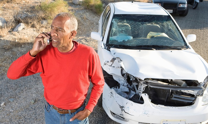 car accident man on phone